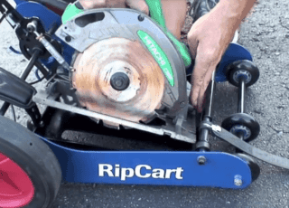 Circular saw inserted into RipCart
